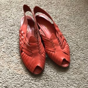 Nine West red leather straps sandals. Size 8.
